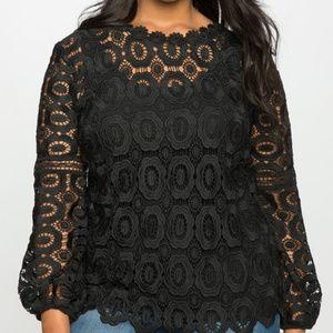 Eloquii Studio Long Sleeve Crochet Lace Blouse